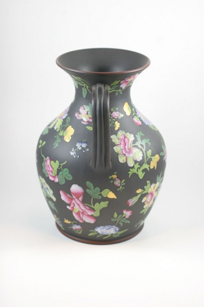 Leo Kaplan Ltd Wedgwood Basalt Enameled Portland Vase
